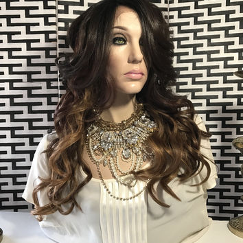 Stephanie Ombré Dark Brown Loose Layers Hair Lace Front Wig 25""