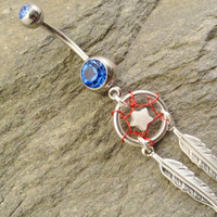 Patriotic Dream Catcher Belly Button Jewelry Red White and Blue