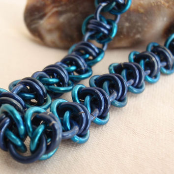 Chain Maille Bracelet Dark Blue Turquoise Barrel by cutterstone