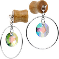00 Gauge Handmade Hoop Dangle Plug Set Created with Swarovski Crystals