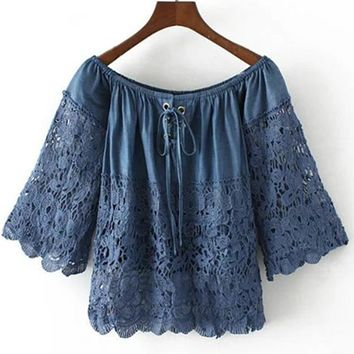 Women Denim Lace Shirt Off Shoulder Crop Tops Slash neck Hollow Out Bow Jeans Wear Blouse Blue Blusas Camisas Clothes