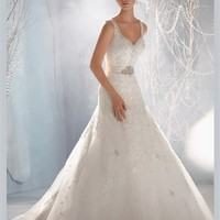 White Ball V-neck Beading Boned Lace Organza 2013 Wedding Dress IWD0225 -Shop offer 2013 wedding dresses,prom dresses,party dresses for girls on sale. #Category#
