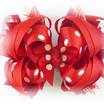 Boutique stacked bow, Red hair bow, Red bow, Over the top bow, Toddler hairbow, Pageant bow, Hair bows for girls, Red hairbow, Girls bow