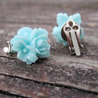 Aqua Blossom Clip on Earrings