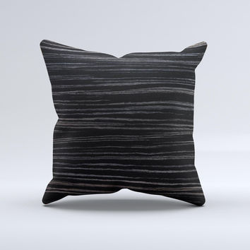 Black Wood Texture Ink-Fuzed Decorative Throw Pillow