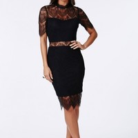 Missguided - Lorraine Lace High Neck Bodycon Dress Black