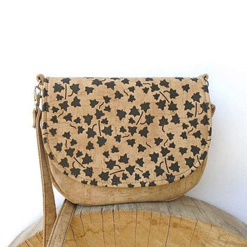 Leather cork bag, painted shoulder bag, crossbody small bag, vegan cork bag, small hobo bag, unique beige leather purse, girl exotic bag