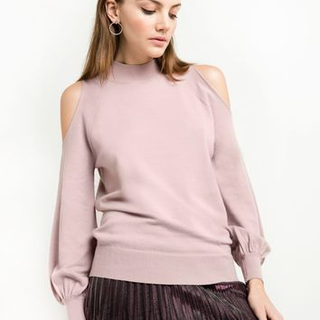 Mauve Pink Cold Shoulder Sweater