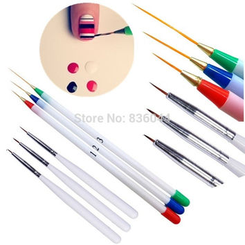 Set 6Pcs/Pack Fine Drawing Striping Liner Design Tips Nail Art Pen Brushes Brush Salon DIY Gel UV Tool Manicure = 1946471556