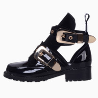 Patent Metal Buckle Cut Out Boots - Choies.com