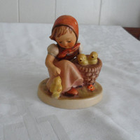 "VINTAGE 1950s Goebel Hummel Figurine ""Little Chick Girl""  #57/0 TMK 2 Full Bee/ 3 3/4"" West German Hummel Figurine Highly Collectible"