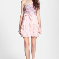 Hailey Logan Sequin Bodice Ruffle Dress (Juniors) (Online Only)