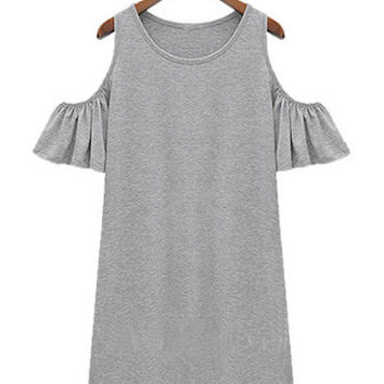 Shoulder Cutout Short Ruffled Sleeve Mini Shift Knit Dress