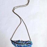Polymer Clay Pendent  soft blue feather of a fairy bird.