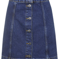 TALL Denim Button Front Skirt - Mid Stone