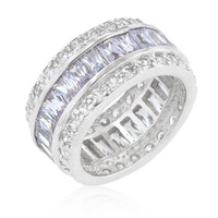 Triple Row Lavender Cubic Zirconia Eternity Band