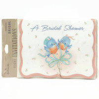 Vintage Bridal Shower Invitations, Blue Birds, Blue, Pink, Tying the Knot, NOS