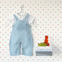 Knitted baby overalls, sky blue, knitted fish. 100% cotton. READY TO SHIP size Newborn.