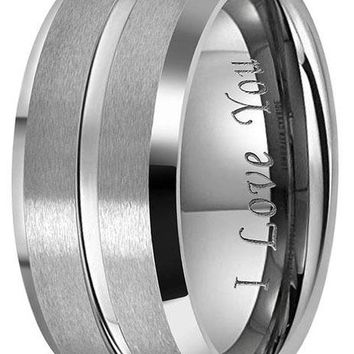 "CERTIFIED 10mm 8mm 6mm Tungsten Wedding ""I Love You"" Men Women Polished Band."
