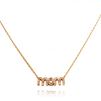 "TIONEER® ""MOM"" 14K Rose Gold Plated Sterling Silver Necklace with 16""+2"" Extension Sterling Silver Chain"