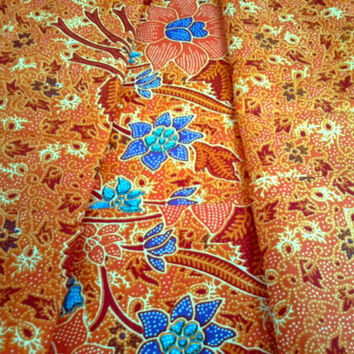 Thai Batik Orange Floral Print Fabric Sarong Lightweight Cotton-Poly Blend - 2 Yards