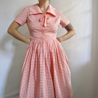 Vintage 50s Dress . Peaches & Cream Midcentury Day Dress . Gingham Sweetness . Size Small / Medium