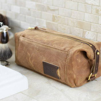 NO. 349 Personalized Expandable Toiletry Dopp Kit with Leather Tag, Brown Waxed Canvas