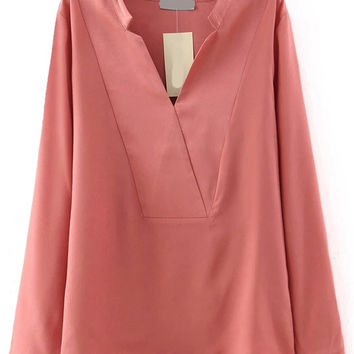 Pink V-Neck Long Sleeve Blouse