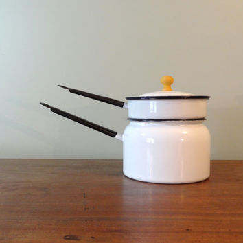 Rare White Enamelware Double Boiler Pot #vintage  #kitchen #etsy #newfoundfinds