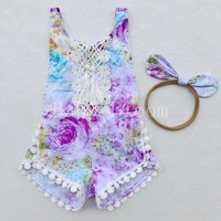 Floral Lace Tassel Baby Girl Romper Tassel Toddler Rompers Baby Jumpsuit Infant Newborn Baby Clothes Outfit