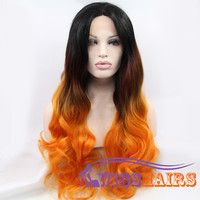 "22"" Long Wavy without Bangs Synthetic Wigs for Women Lace Front Wigs Colorful"
