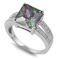 Princess Cut Mystic Simulated Topaz Cubic Zirconia Ring Sterling Silver 925 Size 8