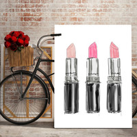 MAC LIPSTICKS, printable art lipsticks, mac lipstick print, wall art, fashion print, makeup decor, makeup print, makeup art,lipsticks