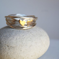 Sweethearts Love Nest Ring with 9ct Gold Hearts by LolaAndCash