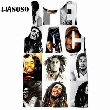 LIASOSO 2018 Summer Casual Fashion 3D Print Men's Tank Top Vest Design Reggae Singe BOB Marley sleeveless Hip Hop Tank Top X0990