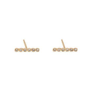 Bezel Set Diamond Bar Earrings