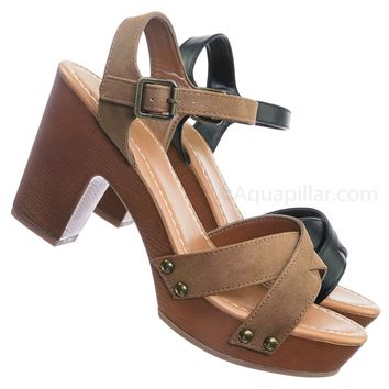 c2953fe35c0b Economy Sculpted Chunky Block Heel Clogs - Womens Lightweight Wood Base  Sandal