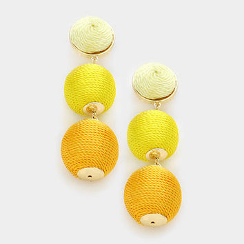 Yellow Ombre Pom Pom Style Earrings, Thread Ball Earrings, Triple Ball Drop Earrings, Drop Earrings, Silk Thread Wrapped Earrings