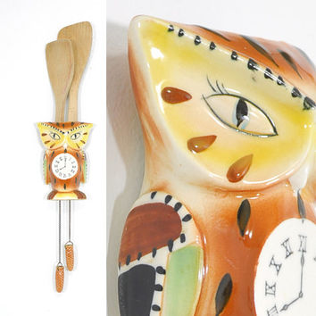 Vintage Ceramic Owl Hanging • 1960s Owl Cuckoo Clock • Pocket Clock Wall Planter • Vintage Owl • 1960s Wall Clock • Pinecone Weights