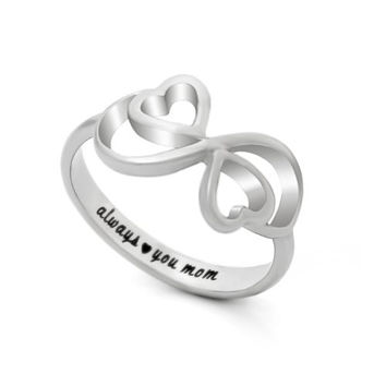 "Mothers Ring, Double Hearts Infinity Ring, Promise Ring ""Always Love You My Mom"" Engraved on Inside"