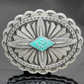 Silver Feather Cross Concho Navajo Belt Buckle