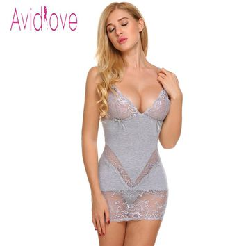 Avidlove Sexy Nightgown Cotton Sleepwear Nightwear Women Strap Lace Sexy Babydoll Chemise Sleepshirt Nightdress Female Nighty
