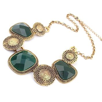 Green and Antique Gold Collar Necklace