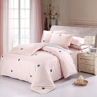 New Arrival 100% Cotton Sweet Pink Dandelion Bedding Set Romantic 4pcs queen king size Printed Bedsheet Pillowcase Duvet Cover