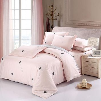 100% Cotton Sweet Pink Dandelion Bedding Set Romantic 4pcs queen king size Printed Bedsheet Pillowcase Duvet Cover