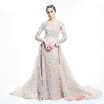 Glitter Sequins Evening Dress Long Detachable Train Party Gown Long Sleeve Muslim Dress