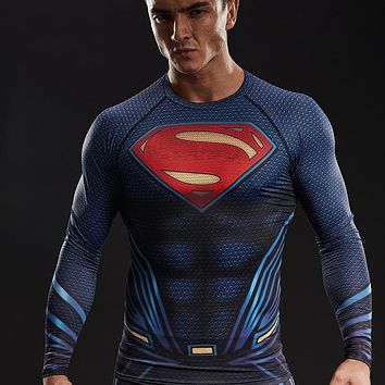 Upgrade Compression Shirt Men 3D Printed T-shirts Raglan Long Sleeve Comics Cosplay Costume Tops For Male fitness Clothing