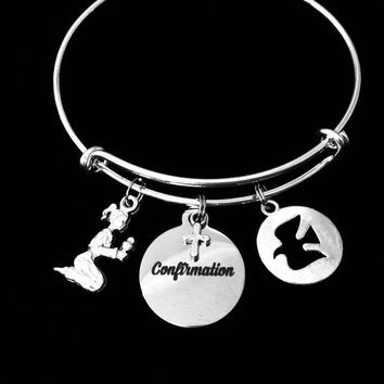 Confirmation Charm Bracelet Girl Confirmation Jewelry Adjustable Expandable Silver Bangle Confirmation Gift