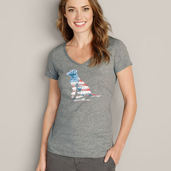 Women's Dog American Flag T-shirt | Eddie Bauer