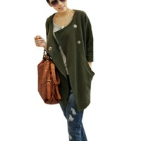 Ladies Round Neck Split Side Cutting Two Button Up Front Coat